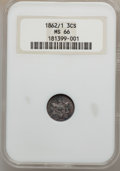 Three Cent Silver, 1862/1 3CS MS66 NGC. FS-301....