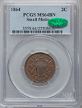 Two Cent Pieces, 1864 2C Small Motto MS64 Brown PCGS. CAC. FS-401....