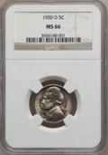 Jefferson Nickels: , 1950-D 5C MS66 NGC. NGC Census: (1300/211). PCGS Population(978/11). Mintage: 2,630,030. Numismedia Wsl. Price for problem...