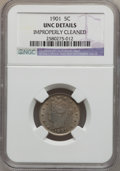 Liberty Nickels: , 1901 5C -- Improperly Cleaned -- NGC Details. UNC. NGC Census:(2/674). PCGS Population (6/787). Mintage: 26,480,212. Numis...