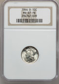 Mercury Dimes: , 1944-D 10C MS67 Full Bands NGC. NGC Census: (1180/20). PCGSPopulation (1168/78). Mintage: 62,224,000. Numismedia Wsl. Pric...