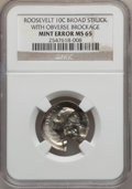 Errors, No Date 10C Roosevelt Dime Broad Struck with Obverse Brockage MS65NGC. (#14513...