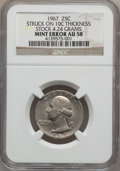 Errors, 1967 25C Washington Quarters--Struck On 10C Thickness Stock 4.24Grams--AU58 NGC....