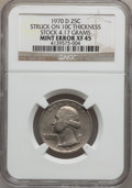 Errors, 1970-D 25C Washington Quarter Struck 10C Thickness Stock XF45 NGC.4.17 Grams. NGC Census: (0/739). PCGS Population (1/930)...