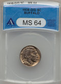 Buffalo Nickels, 1938-D/D 5C MS64 ANACS. NGC Census: (857/27486). PCGS Population(3115/52029). Mintage: 7,020,000. Numismedia Wsl. Price fo...