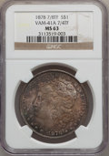 Morgan Dollars, 1878 7/8TF $1 Weak MS63 NGC. Vam- 41A. PCGS Population (1139/893).Mintage: 544,000. (#7070)...