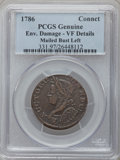 Colonials, 1786 COPPER Connecticut Copper, Mailed Bust Left -- EnvironmentalDamage -- PCGS Genuine. VF Details. PCGS Population (7/28...