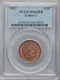 Half Cents: , 1857 1/2 C MS62 Red and Brown PCGS. Cohen 1. PCGS Population(25/117). NGC Census: (11/107). Mintage: 35,180. Numismedia W...