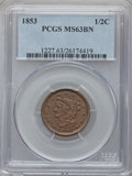 Half Cents: , 1853 1/2 C MS63 Brown PCGS. PCGS Population (148/171). NGC Census:(153/321). Mintage: 129,694. Numismedia Wsl. Price for p...