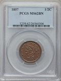 Half Cents: , 1857 1/2 C MS62 Brown PCGS. PCGS Population (56/120). NGC Census:(70/197). Mintage: 35,180. Numismedia Wsl. Price for prob...