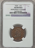Half Cents: , 1828 1/2 C 13 Stars -- Improperly Cleaned -- NGC Details. AU. NGCCensus: (46/1182). PCGS Population (73/499). Mintage: 606...