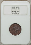 Half Cents: , 1855 1/2 C MS64 Brown NGC. NGC Census: (173/87). PCGS Population(112/36). Mintage: 56,500. Numismedia Wsl. Price for probl...