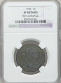 Large Cents, 1798 1C First Hair Style -- Reverse Damage -- NGC Details. XF. NGCCensus: (11/59). PCGS Population (19/36). Mintage: 1,841...