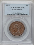 Large Cents: , 1855 1C Knob on Ear MS63 Brown PCGS. PCGS Population (6/10). NGCCensus: (0/0). Numismedia Wsl. Price for problem free NGC...