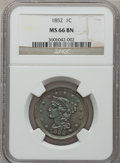 Large Cents: , 1852 1C MS66 Brown NGC. NGC Census: (69/9). PCGS Population (22/0).Mintage: 5,063,094. Numismedia Wsl. Price for problem f...