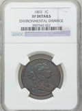 Large Cents: , 1803 1C Small Date, Small Fraction -- Environmental Damage -- NGCDetails. XF. NGC Census: (30/190). PCGS Population (40/13...