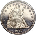 Proof Seated Dollars, 1859 $1 PR64 Cameo PCGS. CAC....