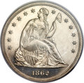 Proof Seated Dollars, 1862 $1 PR64 Cameo PCGS. CAC....