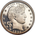 Proof Barber Quarters, 1892 25C PR66+ Cameo PCGS. CAC....
