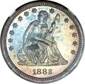Proof Seated Quarters, 1882 25C PR66 NGC. CAC....