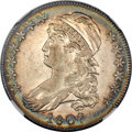 Bust Half Dollars, 1807 50C Large Stars, 50 Over 20 AU58 ★ NGC. CAC. O-112, R.1....