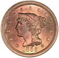 Large Cents, 1855 1C Upright 5s MS65 Red PCGS. N-4, R.1....