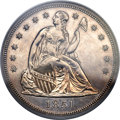 Proof Seated Dollars, 1851 $1 Restrike -- Damage -- PCGS Genuine. Proof, AU Details....