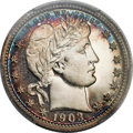 Proof Barber Quarters, 1903 25C PR68 Cameo PCGS. CAC....