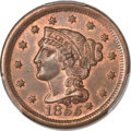 Large Cents, 1855 1C Knob on Ear MS65 Red and Brown PCGS. CAC. N-9, R.1....