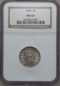 Liberty Nickels: , 1896 5C MS65 NGC. NGC Census: (49/4). PCGS Population (62/8).Mintage: 8,842,920. Numismedia Wsl. Price for problem free NG...