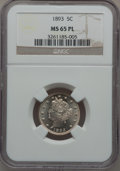 Liberty Nickels, 1893 5C MS65 Prooflike NGC. NGC Census: (88/8). PCGS Population(89/15). Mintage: 13,370,195. Numismedia Wsl. Price for pro...