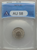 Shield Nickels: , 1875 5C AU58 ANACS. NGC Census: (10/121). PCGS Population (13/154).Mintage: 2,097,000. Numismedia Wsl. Price for problem f...