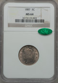 Liberty Nickels: , 1887 5C MS64 NGC. CAC. NGC Census: (158/93). PCGS Population(204/128). Mintage: 15,263,652. Numismedia Wsl. Price for prob...