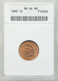 Indian Cents: , 1890 1C MS64 Red and Brown ANACS. NGC Census: (371/152). PCGSPopulation (195/25). Mintage: 57,182,856. Numismedia Wsl. Pri...