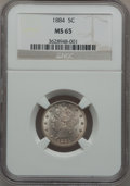 Liberty Nickels: , 1884 5C MS65 NGC. NGC Census: (74/23). PCGS Population (70/21).Mintage: 11,273,942. Numismedia Wsl. Price for problem free...