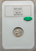 Three Cent Nickels, 1871 3CN MS65 NGC. CAC. NGC Census: (36/10). PCGS Population(39/22). Mintage: 603,000. Numismedia Wsl. Price for problem f...