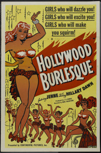 "Hollywood Burlesque (Continental, 1949). One Sheet (27"" X 41""). Performance. Starring Hilary Dawn, Joy Damon..."