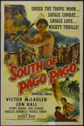 "Movie Posters:Adventure, South of Pago Pago (United Artists, R-1947). One Sheet (27"" X 41"").Adventure. Starring Victor McLaglen, Jon Hall, Frances F..."