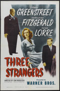 "Movie Posters:Crime, Three Strangers (Warner Brothers, 1946). One Sheet (27"" X 41"").Crime Drama. Starring Sydney Greenstreet, Peter Lorre, Geral..."