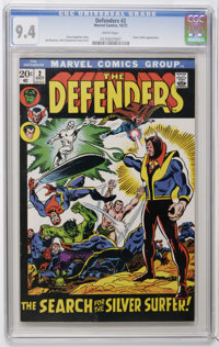 The Defenders #2 (Marvel, 1972) CGC NM 9.4 White pages. Silver Surfer appearance. Sal Buscema cover and art. Overstreet...