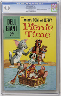 Dell Giants #21 M.G.M.'s Tom and Jerry Picnic Time - File Copy (Dell, 1959) CGC VF/NM 9.0 Off-white to white pages. Pain...