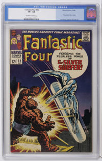 Fantastic Four #55 (Marvel, 1966) CGC VF+ 8.5 Off-white to white pages. The Silver Surfer battles the Thing. Fourth appe...