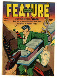 Feature Comics #143 Mile High pedigree (Quality, 1950) Condition: VF/NM. Stunt Man Stetson cover. Overstreet 2006 VF/NM...