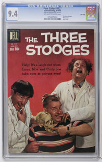 Four Color #1127 The Three Stooges - File Copy (Dell, 1960) CGC NM 9.4 Off-white to white pages. Photo and skull cover...