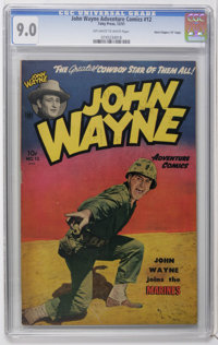 "John Wayne Adventure Comics #12 Davis Crippen (""D"" Copy) pedigree (Toby Publishing, 1951) CGC VF/NM 9.0 Off-wh..."