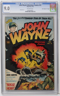 "John Wayne Adventure Comics #15 Davis Crippen (""D"" Copy) pedigree (Toby Publishing, 1952) CGC VF/NM 9.0 Off-wh..."