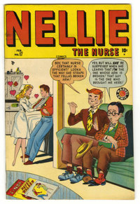 """Nellie the Nurse #17 Davis Crippen (""""D"""" Copy) pedigree (Timely, 1949) Condition: VF+. Annie Oakley appearance..."""