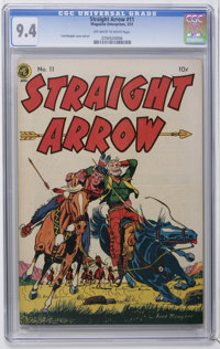 """Straight Arrow #11 (Magazine Enterprises, 1951) CGC NM 9.4 Off-white to white pages. Contains the classic story """"Th..."""