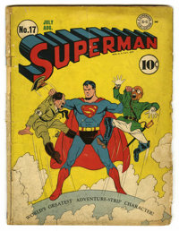 """Superman #17 Davis Crippen (""""D"""" Copy) pedigree (DC, 1942) Condition: GD-. Hitler and Hirohito cover by Fred Ra..."""