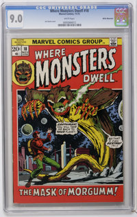 Where Monsters Dwell #18 White Mountain pedigree (Marvel, 1972) CGC VF/NM 9.0 White pages. Jim Starlin cover. Steve Ditk...
